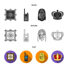 Picture, sarcophagus of the pharaoh, walkie-talkie, crown. Museum set collection icons in black,flat,outline style vector symbol stock illustration web.