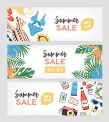 Set of horizontal banner templates for summer sale promo or advertisement decorated with exotic palm leaves, tropical flowers, beachwear, photo camera, sunglasses. Flat colorful vector illustration.