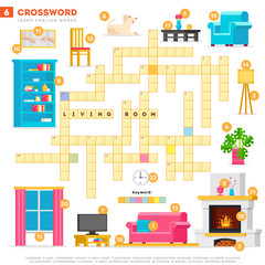 Crossword with huge set of illustrations and keyword in vector flat design isolated on white background. Crossword 6 - Living room - learning English words with images
