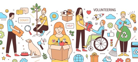 Horizontal banner with young men and women feeding dog, giving gift to disabled person, planting tree, collecting garbage. Volunteers and volunteering. Vector illustration in line art style.