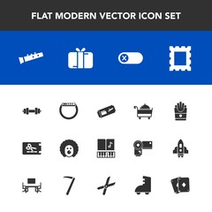 Modern, simple vector icon set with present, frame, border, potato, smart, off, note, flight, gadget, sound, gift, gym, celebration, time, restaurant, energy, picture, discount, character, price icons