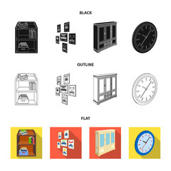 Cabinet, shelving with books and documents, frames on the wall, round clocks. Office interior set collection icons in black,flat,outline style isometric vector symbol stock illustration web.