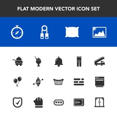 Modern, simple vector icon set with picture, sailboat, bell, ice, call, bedroom, dessert, clothing, photo, white, pants, travel, transport, food, compass, birthday, ring, bed, fashion, home, map icons