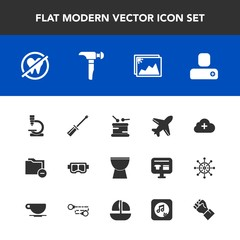 Modern, simple vector icon set with snorkel, instrument, flight, construction, add, business, mask, dentist, file, microscope, work, aircraft, internet, sea, plane, saw, folder, biology, musical icons