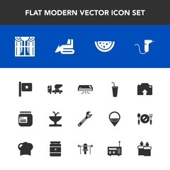 Modern, simple vector icon set with national, light, clinic, upload, machinery, drill, cement, nation, wrench, watermelon, flag, hammer, bulldozer, medical, drink, juice, air, dentist, window icons