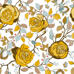 Foto op Aluminium Botanisch Yellow and blue floral pattern. Vector wallpaper with big illustration roses. Hand drawn roses