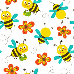seamless pattern with funny bees - vector illustration, eps