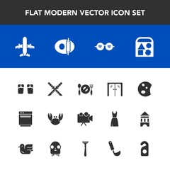 Modern, simple vector icon set with video, fashion, travel, fresh, beach, plane, footwear, projector, hippie, fork, oven, sunglasses, doughnut, equipment, crab, sweet, food, glasses, dessert icons