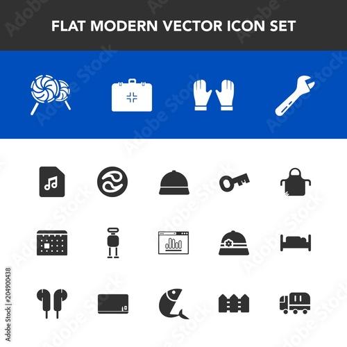 Modern Simple Vector Icon Set With Kamon Calendar Food Tool