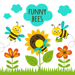 card with funny bees - vector illustration, eps