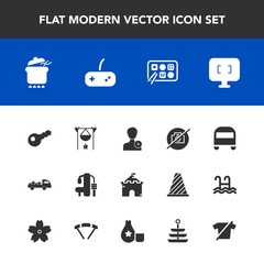 Modern, simple vector icon set with bonfire, restaurant, truck, shipping, campfire, sport, account, member, photo, dinner, castle, computer, add, person, pot, fireplace, hot, medieval, chinese icons