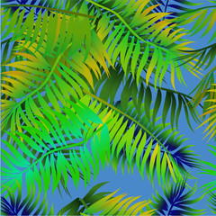 Seamless background with palm leaves