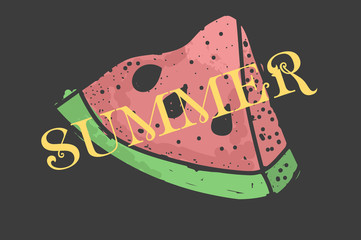slice of watermelon. the inscription SUMMER. great for printing on clothes