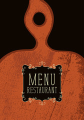 Vector template menu for restaurant with a figured wooden cutting board in retro style