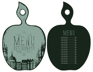 Vector template menu for restaurant with price list in the form of figured wooden cutting board with a picture of the old town in retro style.