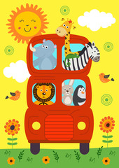 funny London Bus with animals view front - vector illustration, eps