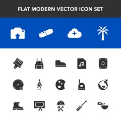 Modern, simple vector icon set with cake, paint, doughnut, party, add, game, music, glass, birthday, pill, medicine, drawing, food, brush, white, footwear, pinafore, uniform, fun, sweet, note,  icons