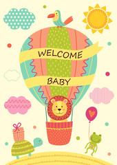 card with lion on air balloon and other animals - vector illustration, eps