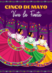 Cinco De Mayo poster design. Dancing girls in colorful dresses on the purple background