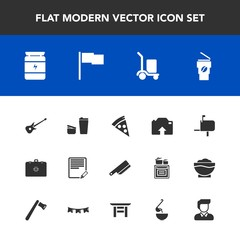 Modern, simple vector icon set with box, sign, lunch, cafe, music, document, mailbox, white, sport, table, mail, fork, knife, photo, write, male, hot, flag, warehouse, food, boy, musical, sugar icons