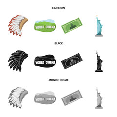 Mohavk, world cinema, dollar, a statue of liberty.USA country set collection icons in cartoon,black,monochrome style vector symbol stock illustration web.