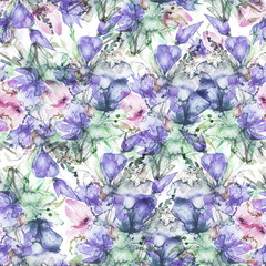Seamless Pattern of pink, lilac wild flowers on a branch in watercolor. Bud, branch, petal, bouquet of flowers,tulip, poppy, iris, wild herbs. For textiles, wallpaper. Abstract, fashionable pattern.