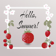 flower greeting card Hello summer