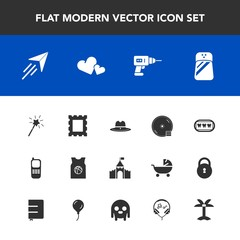 Modern, simple vector icon set with dental, castle, magic, sheriff, sport, dentist, disc, cd, basketball, frame, hand, disk, wand, telephone, picture, dvd, equipment, healthy, photo, travel, fly icons
