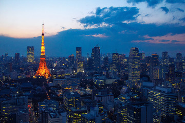 Aerial view over Tokyo tower and Tokyo cityscape with high rise architecture at sunset in Tokyo, Japan