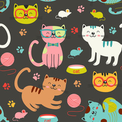 seamless pattern with colorful cats - vector illustration, eps