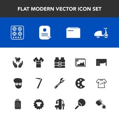 Modern, simple vector icon set with kitchen, graphic, picture, business, clothing, equipment, kimono, style, paper, cook, stove, bicycle, vest, ride, traditional, photo, jacket, file, frame, gas icons