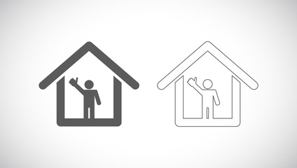 man thumbs up in house icon