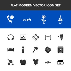 Modern, simple vector icon set with background, music, wc, public, call, nature, center, support, bathroom, art, restroom, fun, blossom, audio, bed, delivery, furniture, bedroom, double, sound icons