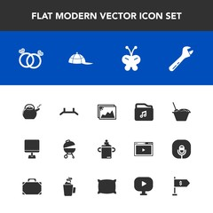 Modern, simple vector icon set with file, clothing, cap, up, plastic, meat, pull, diamond, photo, picture, pc, noodle, grill, engagement, kitchen, nutrition, butterfly, barbecue, tool, location icons