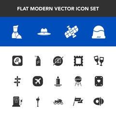 Modern, simple vector icon set with planet, cap, hat, abstract, frame, street, orbit, grunge, business, clothing, wine, space, picture, no, glass, station, decoration, red, fire, border, photo icons