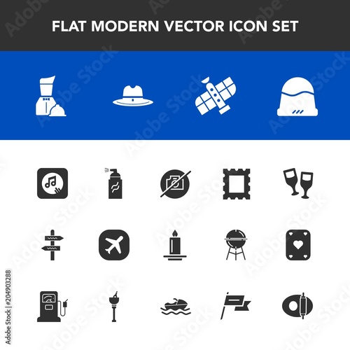 Modern Simple Vector Icon Set With Planet Cap Hat Abstract