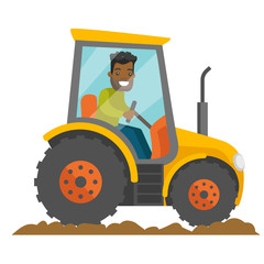 A black happy farmer in tractor on a rural farm field. A worker in rural area. arming, country, agriculture, harvest and gardening concept. Vector cartoon illustration isolated on white background.