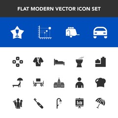 Modern, simple vector icon set with fashion, summer, award, office, home, bathrobe, computer, first, percussion, sign, religious, table, desk, achievement, technology, game, chair, diagram, work icons