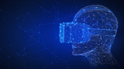 Virtual reality technology network futuristic hud polygon human's head with VR headset on peer to peer network background represent high technology, gaming and virtual life concept. Horizontal layout.