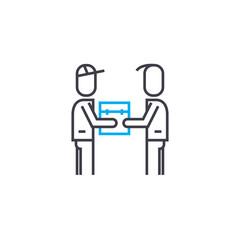 Parcel handling vector thin line stroke icon. Parcel handling outline illustration, linear sign, symbol isolated concept.