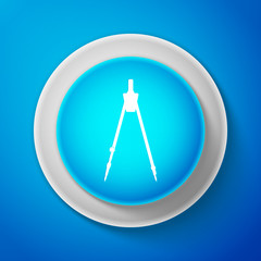 White Drawing compass icon isolated on blue background. Compasses sign. Drawing and educational tools. Geometric instrument. Education sign. Circle blue button with white line. Vector Illustration