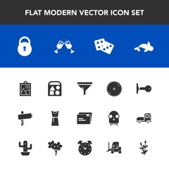 Modern, simple vector icon set with cd, drink, play, wine, house, security, file, sea, disc, fish, agriculture, ball, air, way, gambling, lock, filter, seafood, arrow, food, casino, conditioner icons