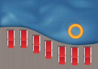 piscine - vue du dessus - vacances - détente - transat - loisir - voyage - club - aquatique - hôtel