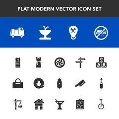 Modern, simple vector icon set with agenda, kamon, sign, bike, juice, add, concept, glass, shipping, dress, mon, delivery, lifestyle, cocktail, conditioner, toy, fountain, image, air, account icons