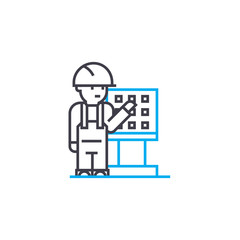 Remote control worker vector thin line stroke icon. Remote control worker outline illustration, linear sign, symbol isolated concept.