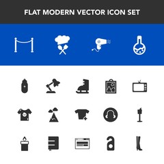 Modern, simple vector icon set with web, notebook, screen, motel, picture, television, hotel, hairdryer, blue, table, winter, book, paper, kid, technology, business, image, lamp, tool, child, tv icons