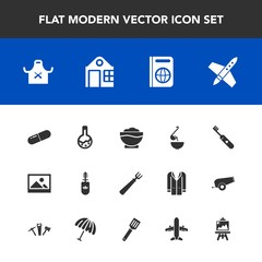 Modern, simple vector icon set with spoon, meal, clean, health, immigration, laboratory, medicine, chef, technology, makeup, art, coffee, artist, old, food, dinner, business, document, building icons
