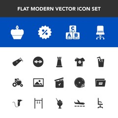 Modern, simple vector icon set with play, baby, chemical, chair, interior, clothes, toy, strategy, sale, child, juice, childhood, science, king, frame, ball, percent, price, cake, farm, bear icons