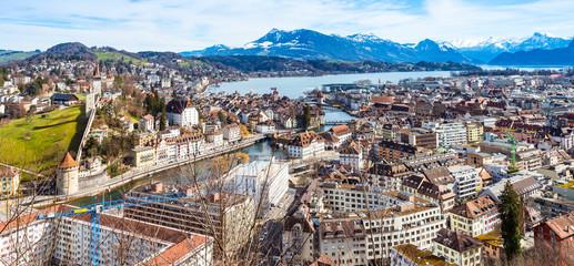 Luzern skyline. Panorama. Aerial view of Luzern city. Panorama. Switzerland