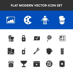 Modern, simple vector icon set with fashion, frame, glass, building, communication, photo, sweet, oven,